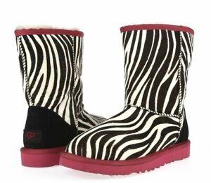 d26728201cc UGG Australia Classic Short Exotic BOOTS Zebra 1002790 Womens 5