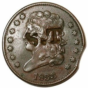 Image Is Loading 1833 Counter Stamp Clip Classic Head Half Cent