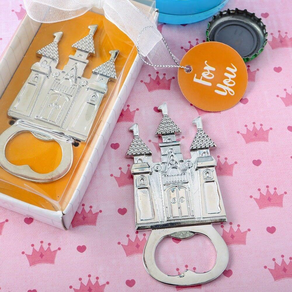 25 Chateau à thème en métal argenté Ouvre-bouteille Mariage Bridal Shower Party Favors