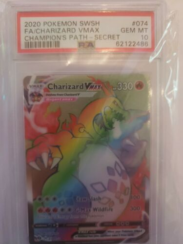 PSA 10 GEM MINT Pokemon Champion Path Secret Rare Rainbow Charizard VMAX 074/073
