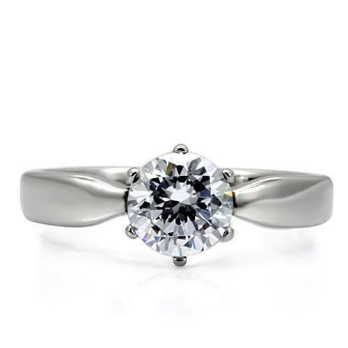 071 2.3CT SOLITAIRE WOMENS SIMULATED DIAMOND RING STAINLESS STEEL  ENGAGEMENT