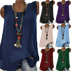Womens-Blouse-Cami-Vest-Tee-Pullover-Casual-Plain-Shirt-Ladies-Loose-Summer-Tops