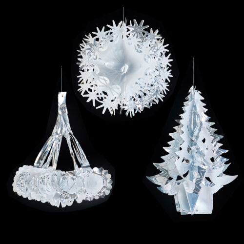 Silver /& White Christmas Foil Ceiling Decorations Garlands Stars Snowflakes