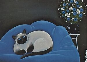 postcard carte postale illustrateur c cipriano le siamois cat