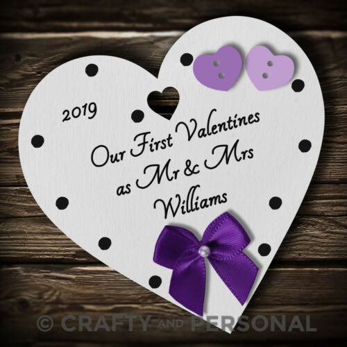 Personalised 1st First Valentines as Mr /& Mrs gift present heart plaque keepsake