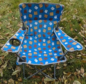 S Mores On Blue Canvas Youth Camp Chair Steel Frame