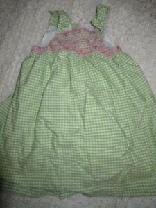 9801e36069c70 euc Gymboree lime green gingham smocked dress baby girl 18 m 24 m ...