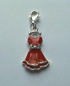 Plata-De-Ley-Enganchable-Rojo-Esmaltado-Charm-Vestido