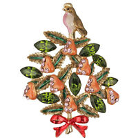 Partridge In A Pear Tree Holiday Pin Hand-enameled With Sparkling Green Crystals