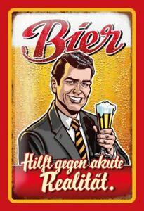 Bier-gegen-akute-Realitaet-Blechschild-Schild-gewoelbt-Metal-Tin-Sign-20-x-30-cm