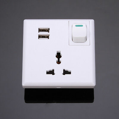 AC Power Socket Receptacle Wall Charger Outlet Plate with Dual/2-Port USB+Switch