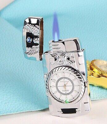New Button Jet Windproof Lighter Working Clock Refillable Lighter valentine Gift