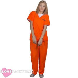 Image is loading WOMENS-PRISONER-COSTUME-ORANGE -TOP-TROUSERS-CONVICT-HALLOWEEN-  sc 1 st  eBay & WOMENS PRISONER COSTUME ORANGE TOP TROUSERS CONVICT HALLOWEEN FANCY ...