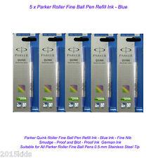 5 Parker Quink Roller Ball Rollerball Pen Refill Fine Nib Blue Ink Gel US Seller
