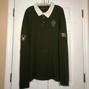 AKOO Mens 4XL Long Sleeve Polo Shirt Green Rugby Patch AHC ...