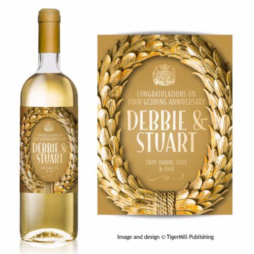 PERSONALISED gold laurel wine label Wedding Anniversary Hen Engagement Birthday
