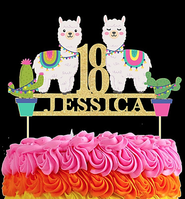 Awesome Alpaca Llama Personalised Cake Topper Birthday Any Age Name Funny Birthday Cards Online Fluifree Goldxyz