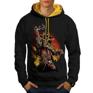 gold Cool Hood Men Contrast Skull Black Western Cowboy New Hoodie 7wq8zHO5