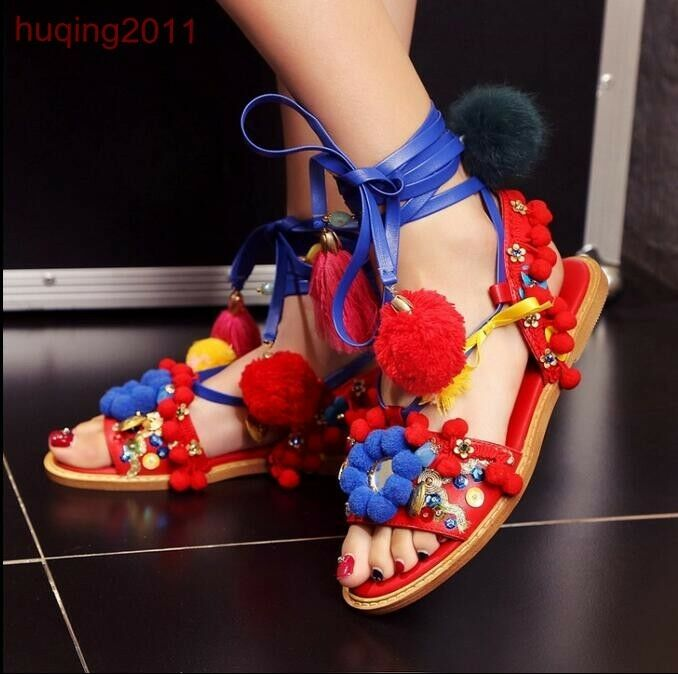 femmes Gladiator Roman Leather Flat Sandals Boho Fur Ball Tassel Open Toe chaussures