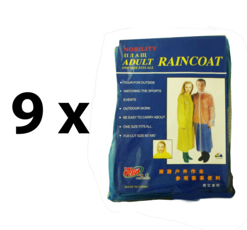 Adult Size 9 x Disposable Raincoats