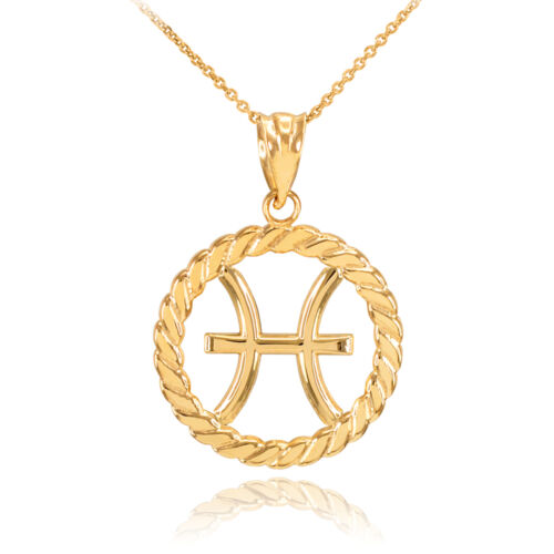 14k Gold Pisces Zodiac Sign in Circle Rope Pendant Necklace