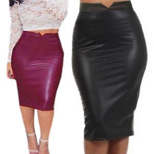 Details about Women Sexy Soft PU Leather Skirt High Waist Slim Hip Pencil Skirts Mini Skirt