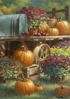 Autumn Farm Pumpkin Pumpkins Harvest Apples & Mums Fall Lg House Flag Toland