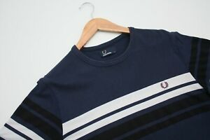 Authentic-Fred-Perry-Stripped-Navy-White-Short-Sleeve-T-Shirt-Men-039-s-Size-Medium