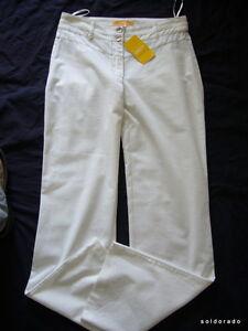 BIBA-Elegante-pantalon-TROPICAL-BIRDS-BLANCO-TALLA-34-Uk8-NUEVO