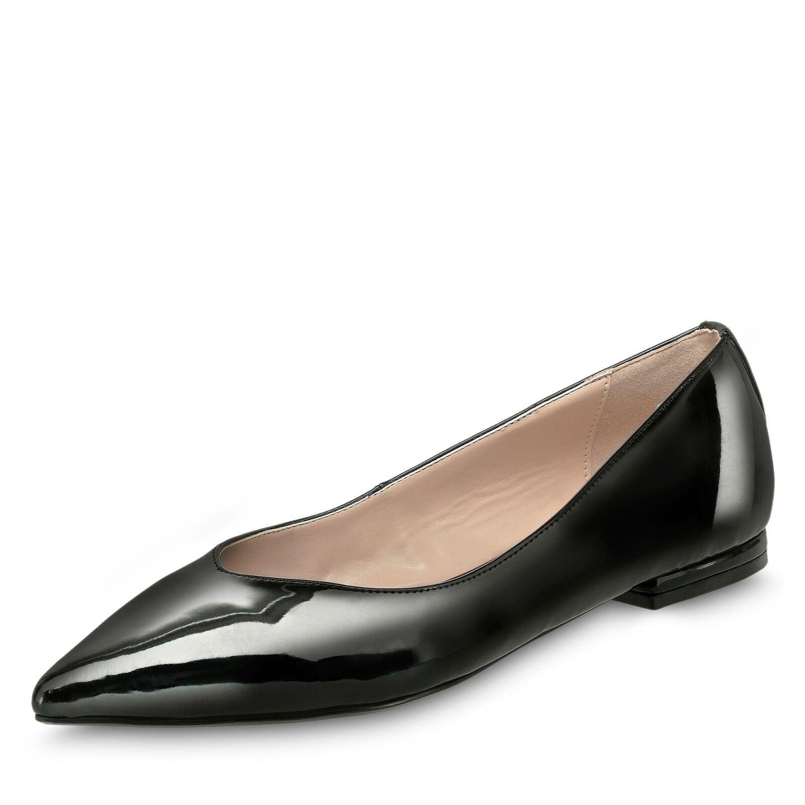 Buffalo Damen Ballerina Schlupfschuhe klassisch Lackschuhe Schuhe schwarz