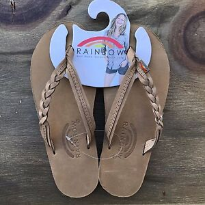 31553e401c79 Image is loading Women-Rainbow-Sandals-Flirty-Braidy-Strap-Sierra-Brown-