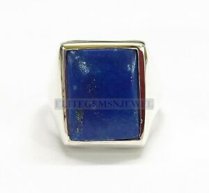Natural-Lapis-Lazuli-Gemstone-with-925-Sterling-Silver-Cluster-Ring-for-Men-039-s