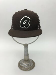 New Era 59FIFTY ATLANTA BRAVES - BROWN White Cap MLB Baseball Fitted ... 88b3ce2ff421