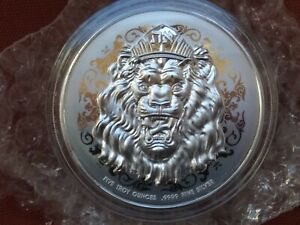 2021 Niue 5 oz .9999 Silver Roaring Lion High Relief - Only 1000 MINTED