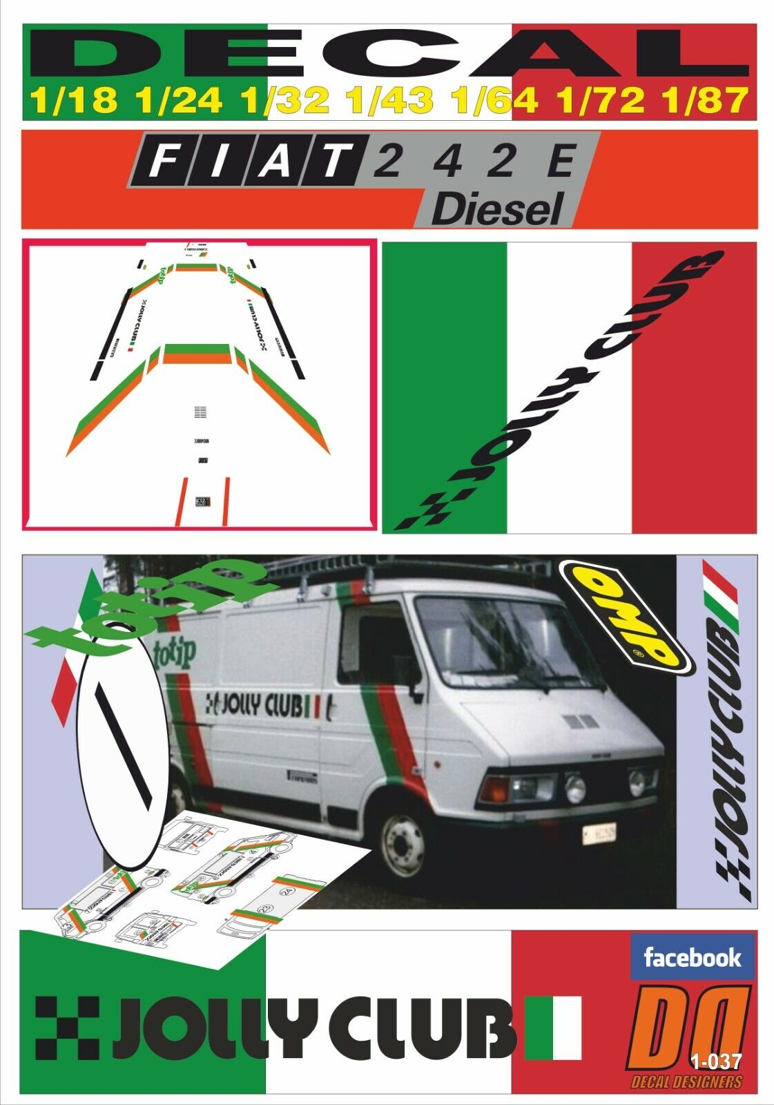 DECAL FIAT 242 E ASSISTENZA TOTIP JOLLY CLUB 1984 (06)