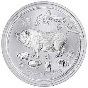 Australia 2019-P Año del Cerdo 1 oz plata lunar SRS 2 moneda de $1 Gema BU SKU55204