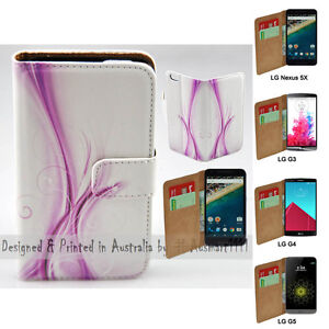 For LG Series Mobile Phone - Purple Floral Theme Print Wallet Phone Case Cover