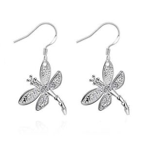 Studs-Hook-Pendant-New-Clip-Gift-Silver-Plated-Earring-Drop-Dangle-Dragonfly