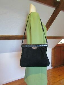 Details about J B MARTIN Designer Vintage 60'S Real Leather & Suede Black Shoulder Bag Evening