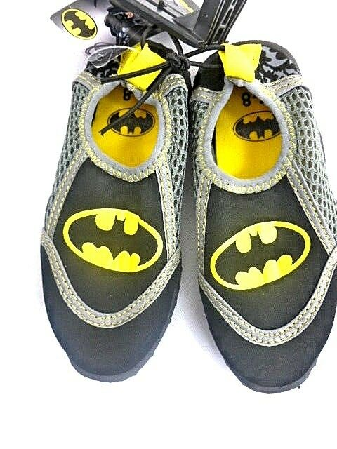 DC Batman Water Shoes Little Boys Size Small 5-6 Beach Slip on Black Yellow NEW