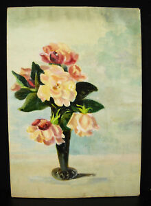 Marie-Fournier-Mass-Oil-on-paper-towards-1930-Bouquet-de-Roses-in-Vase-35-24cm