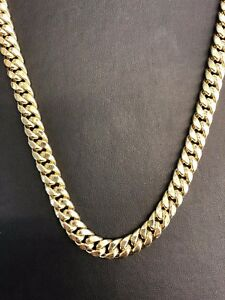 3e4d844ae7b2e 10K Yellow Gold Hollow 9.5mm Miami Cuban Link Chain Necklace 28
