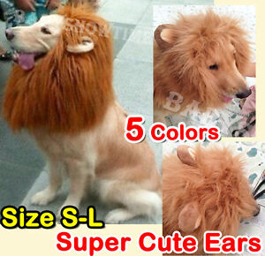 Pet-Costume-Lion-Mane-Wig-Dog-Cat-Halloween-Clothes-Fancy-Dress-up-with-Ears-2