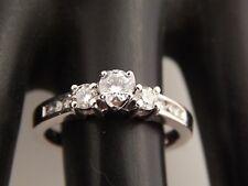3 Stone Round Diamond Engagement Ring 14k White Gold .53 tcw G/VS eye clean