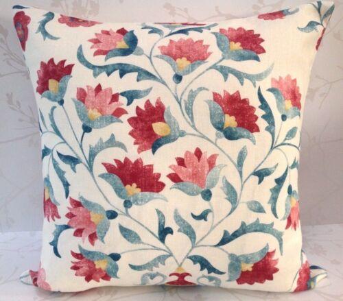 """Sanderson Ottoman fleurs Sojourn Cherry /& Indigo Housse de Coussin Double Face 17/"""""""