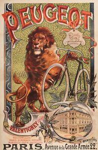 Original-Vintage-Poster-F-Tamagno-Peugeot-Cycle-Lion-Bicycle-1895