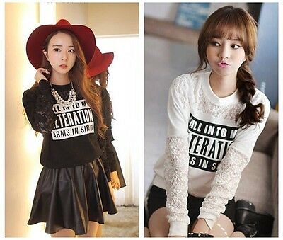 Woman's Autumn Winter New Fashion Lace Casual Long-sleeved Cotton Sweater