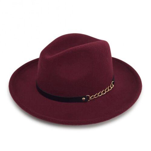 3 Color Option Men/'s /& Women/'s Wide Brim Josette Fedora Felt Hat With A Band