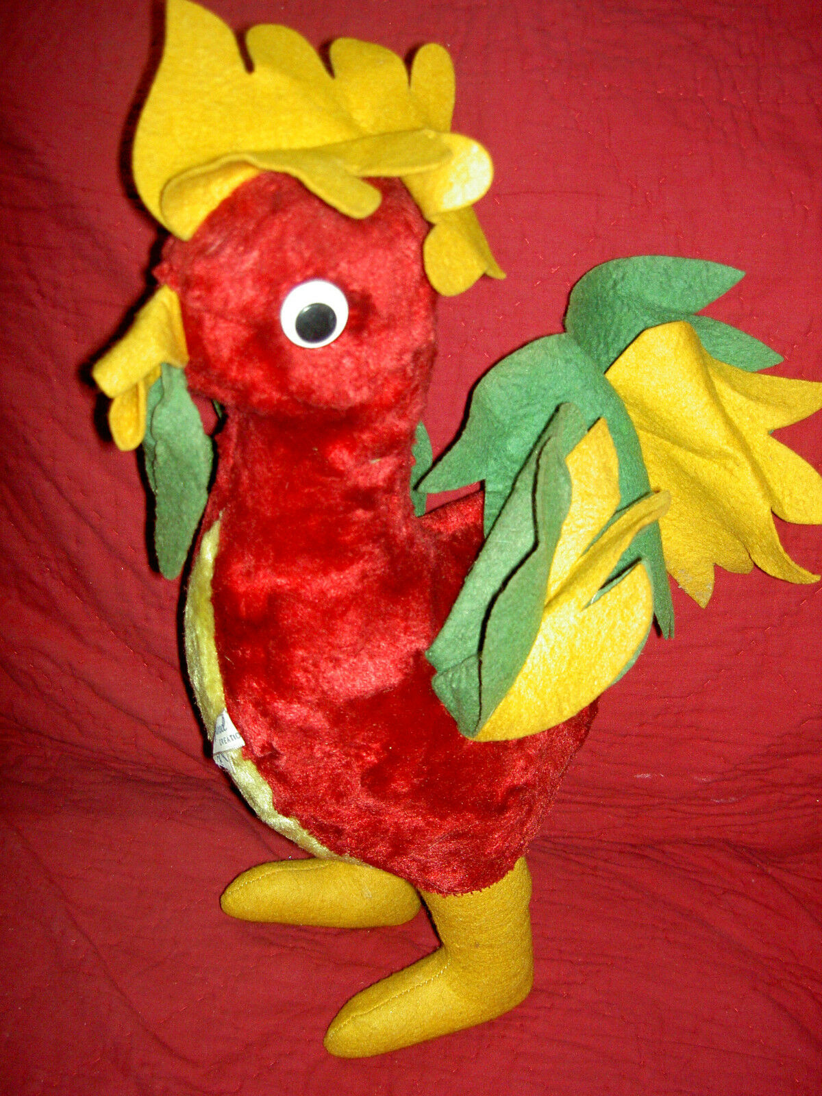 1940s 1940s vintage, GUND Mfg. (Swedlin) lbd Large yellow plush ROOSTER toy, excellent