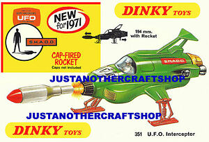Dinky-Toys-351-Ufo-Interceptor-Tamano-A3-Cartel-Anuncio-folleto-rotulo-Anderson
